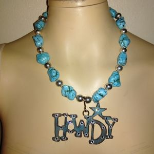 """18"""" silver necklace with large Turquoise stones"""